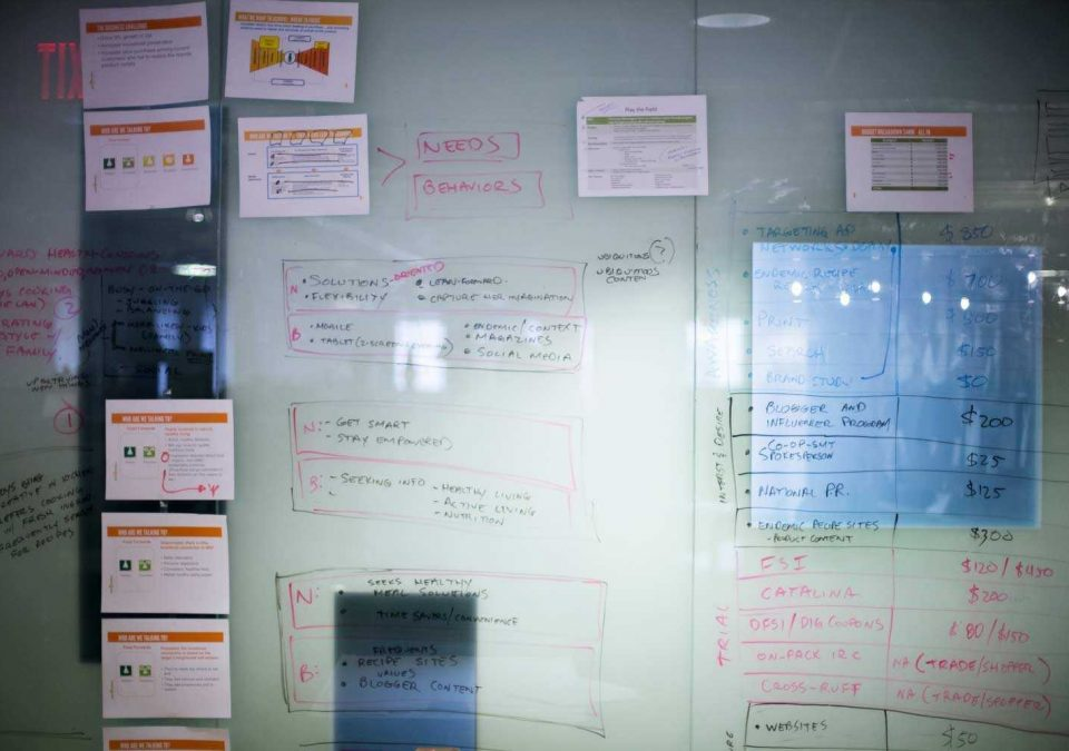 A large whiteboard showing a website wireframe on the wall at the Smiths Agency office.