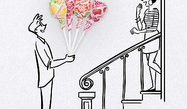 A cartoon drawing of a man giving a woman a bouquet made of Dum-Dums.