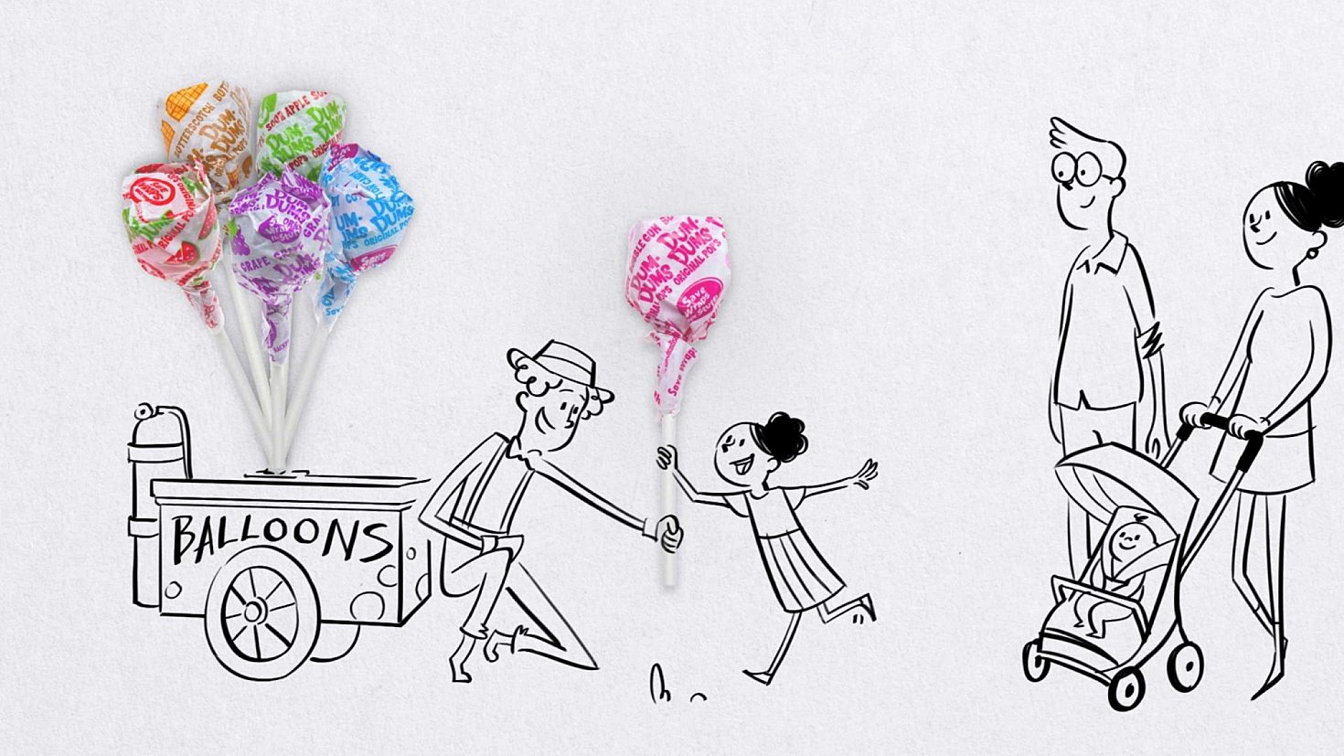A cartoon showing a young girl with her family, reaching out to grab a balloon that is a Dum Dum's pop.