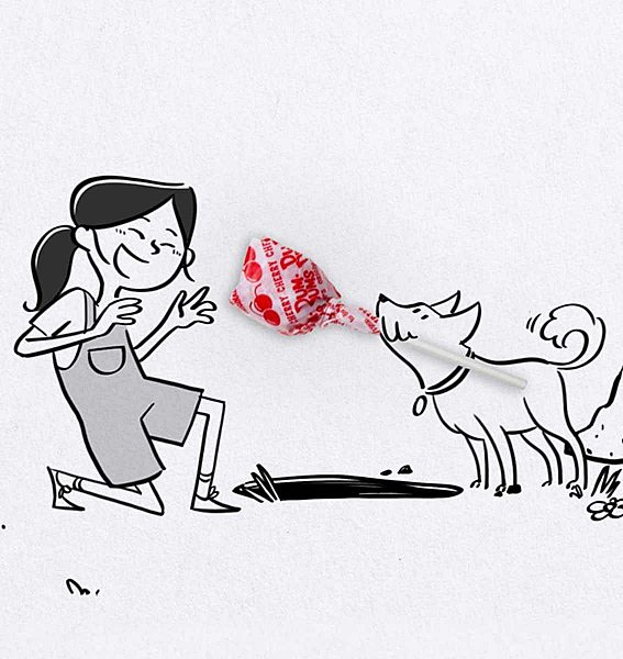 A cartoon image of a dog bringing a Dum-Dum's pop to his friend, a young girl.