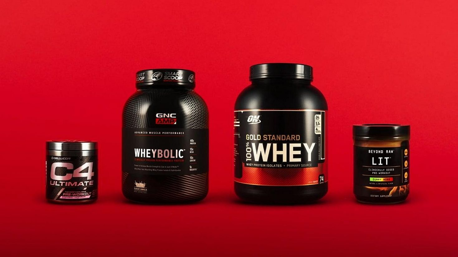 A few containers of GNC Nutrition products.