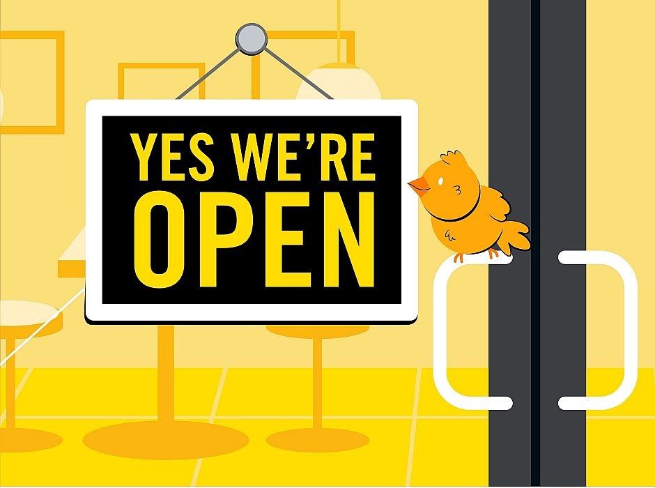 """An illustrated image of the front door of a restaurant with a """"Yes we are open"""" sign."""