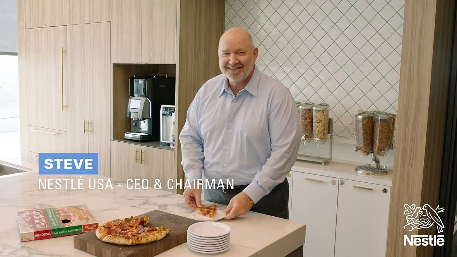 Nestle USA Chairman in a kitchen.
