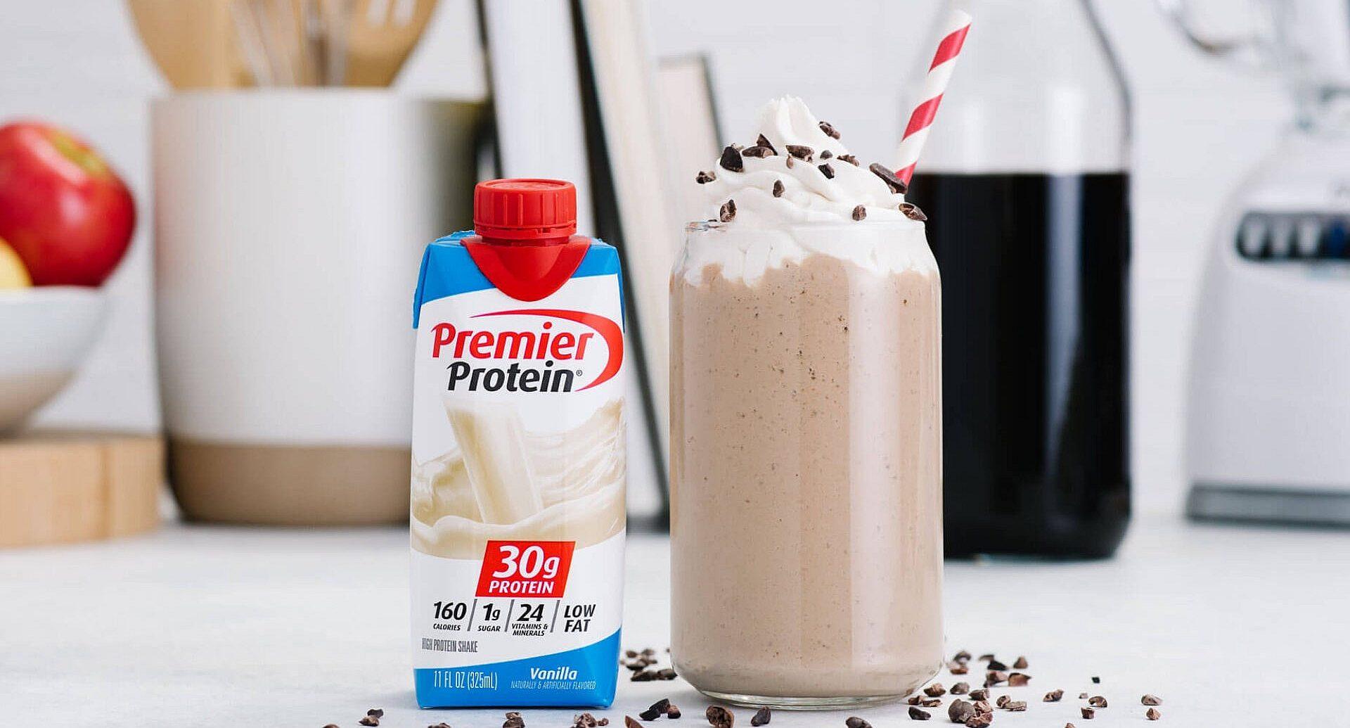 A milkshake made with Premier Protein Vanilla shake.