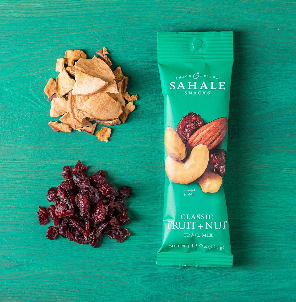 A Sahale Snacks Classic Fruit & Nut Trail Mix snack.