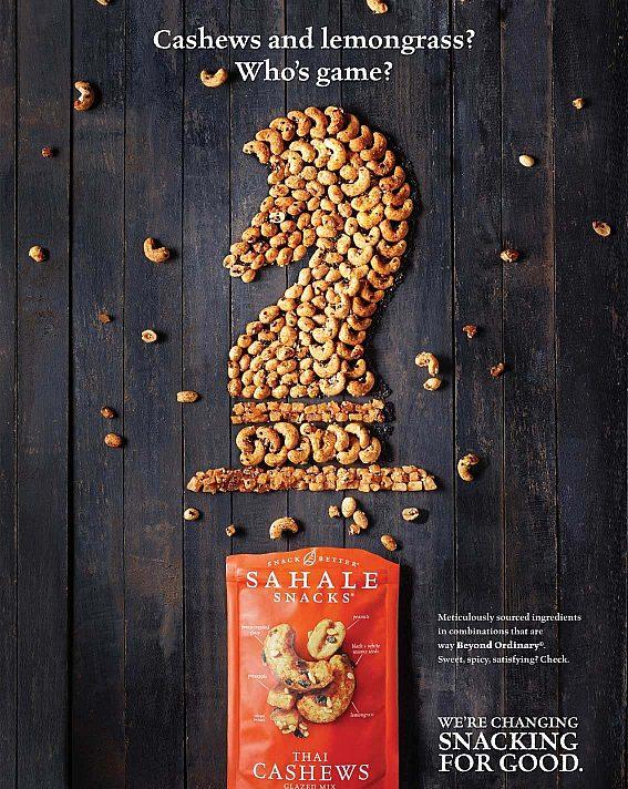 A Sahale Snacks print ad designed by Smiths Agency.