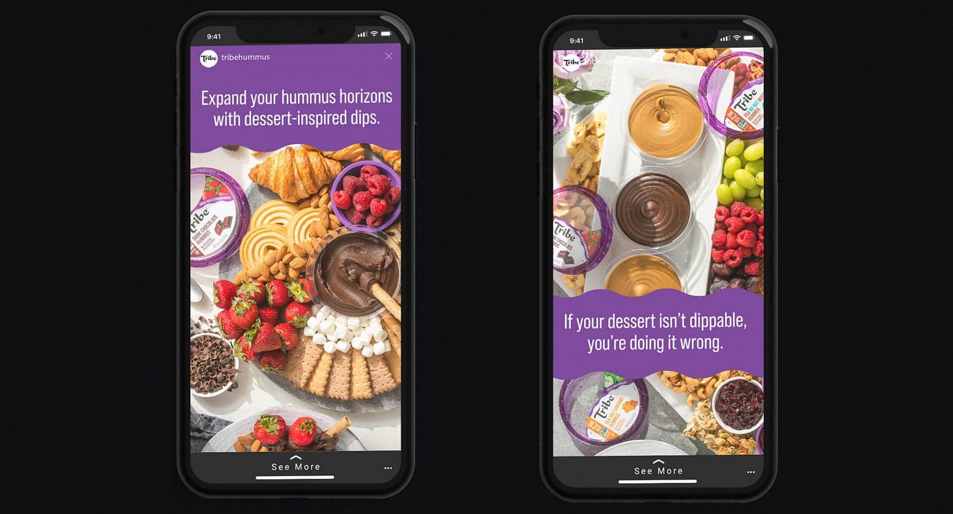 Tribe Hummus ads on a smartphone.