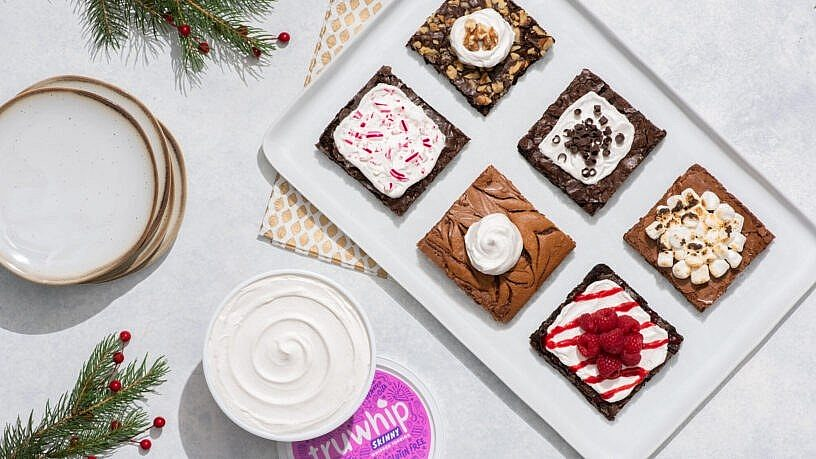 Truwhip Holiday Brownies with Toppings